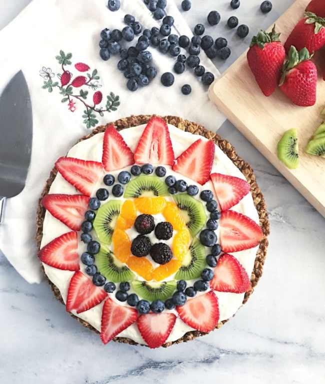 This Granola Fruit Pizza is a fun, delicious and wholesome treat to share with friends and family. | recipe via www.yourchoicenutrition.com