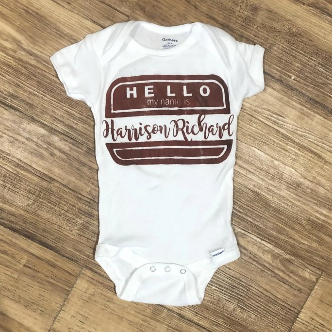 Baby onesie with the phrase Hello my name is Harrison Richard