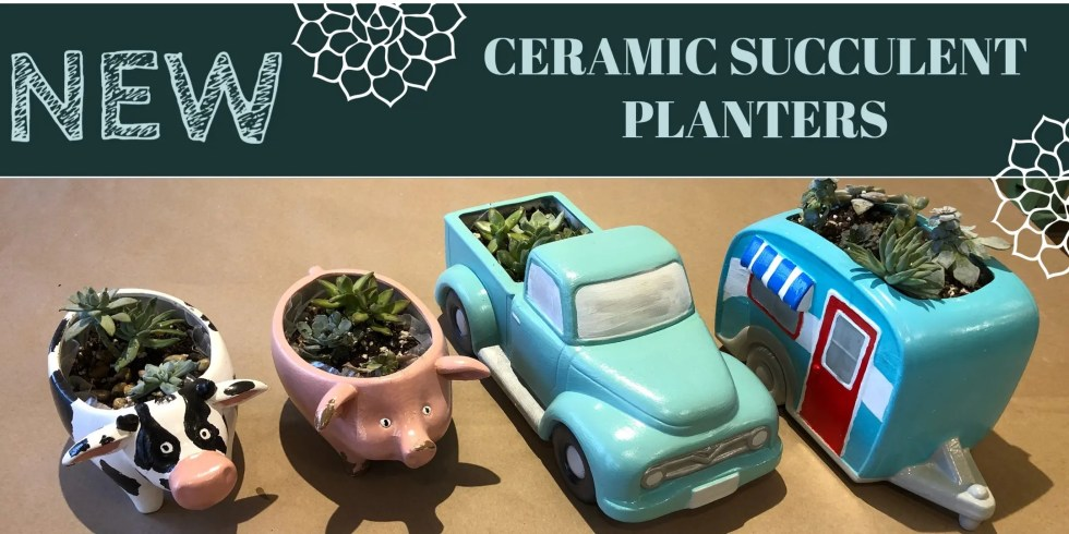 New! Ceramic succulent planters.  Shows the four options available includiing a cow, pig, vintage truck and camper trailer.