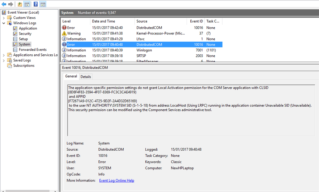Windows Error – Event ID 10016 – Distributed COM Error