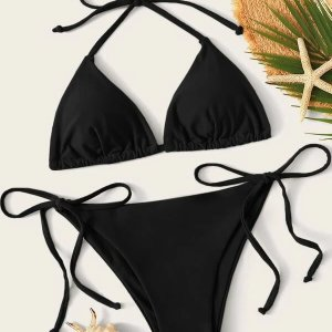 bikini noir tie side swimsuit