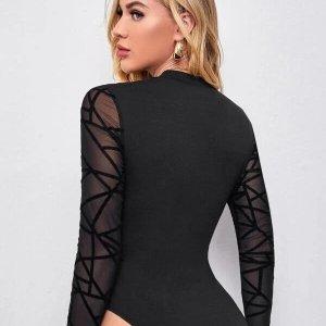 bodysuit femme manches longues noir