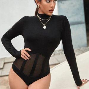 bodysuit femme uni resille fine noir