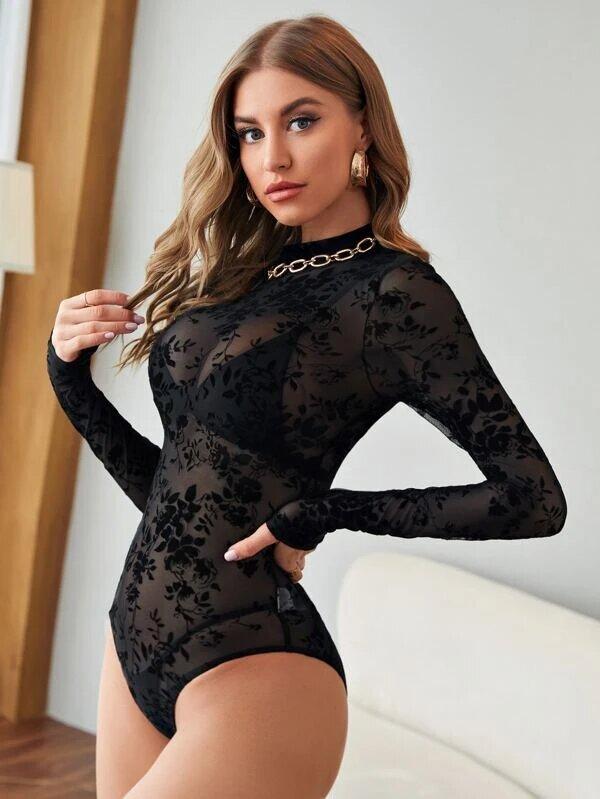 bodysuit manche longue sexy transparent