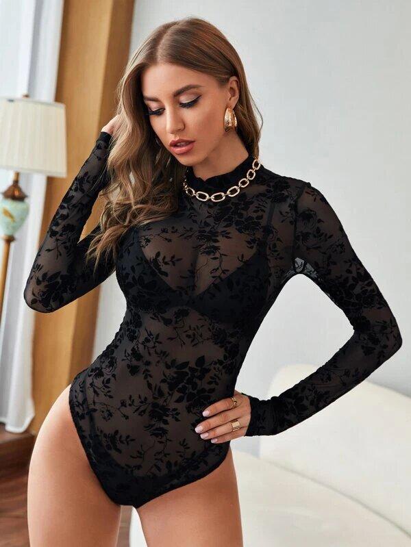 body manche longue sexy transparent