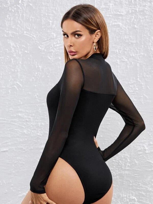 bodysuit noir femme manche longue