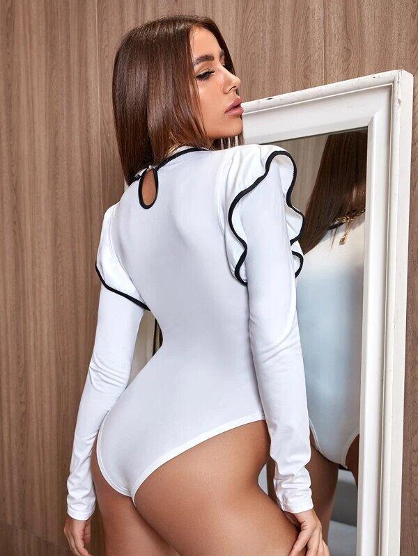 bodysuit manches longues ruffle
