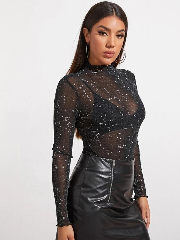 bodysuit femme sexy transparent manche longue