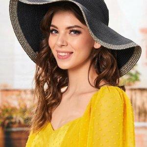 chapeau de plage en paille noir tendance