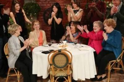 Back Row L-R (Jane Leeves, Valerie Bertinelli, Wendie Malick, George Hamilton) Front Row L-R (Cloris Leachman, Mary Tyler Moore, Valerie Harper, Betty White, Georgia Engel)
