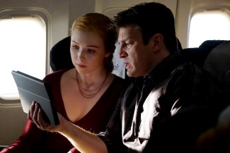 Alexis and Castle video chat with Beckett about the case of the murdered Air Marshal.