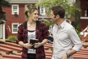 Pictured: (l-r) Nicole Maines as Anna, Mark Feuerstein as Dr. Hank Lawson -- (Photo by: David Giesbrecht/USA Network)