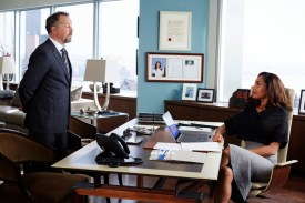 """SUITS -- """"Uninvited Guests"""" Episode 509 -- Pictured: (l-r) David Costabile as Daniel Hardman, Gina Torres as Jessica Pearson -- (Photo by: Shane Mahood/USA Network)"""