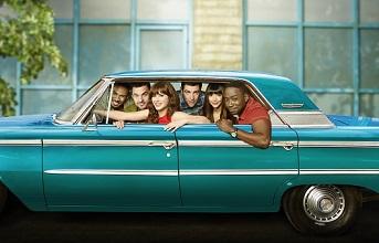 NEW GIRL: Cast L-R: Damon Wayans, Jr., Jake Johnson, Zooey Deschanel, Max Greenfield, Hannah Simone and Lamorne Morris. ©2015 Photo Cr: Autumn DeWilde/FOX
