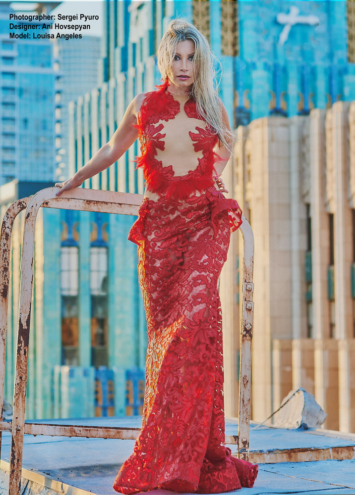 Los Angeles Fashion Photographer, Louisa Angeles, Ani Hovsepyan, red dress