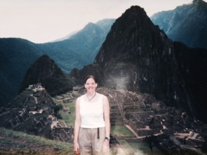 Stephanie at the top of Machu Picchu, 2002
