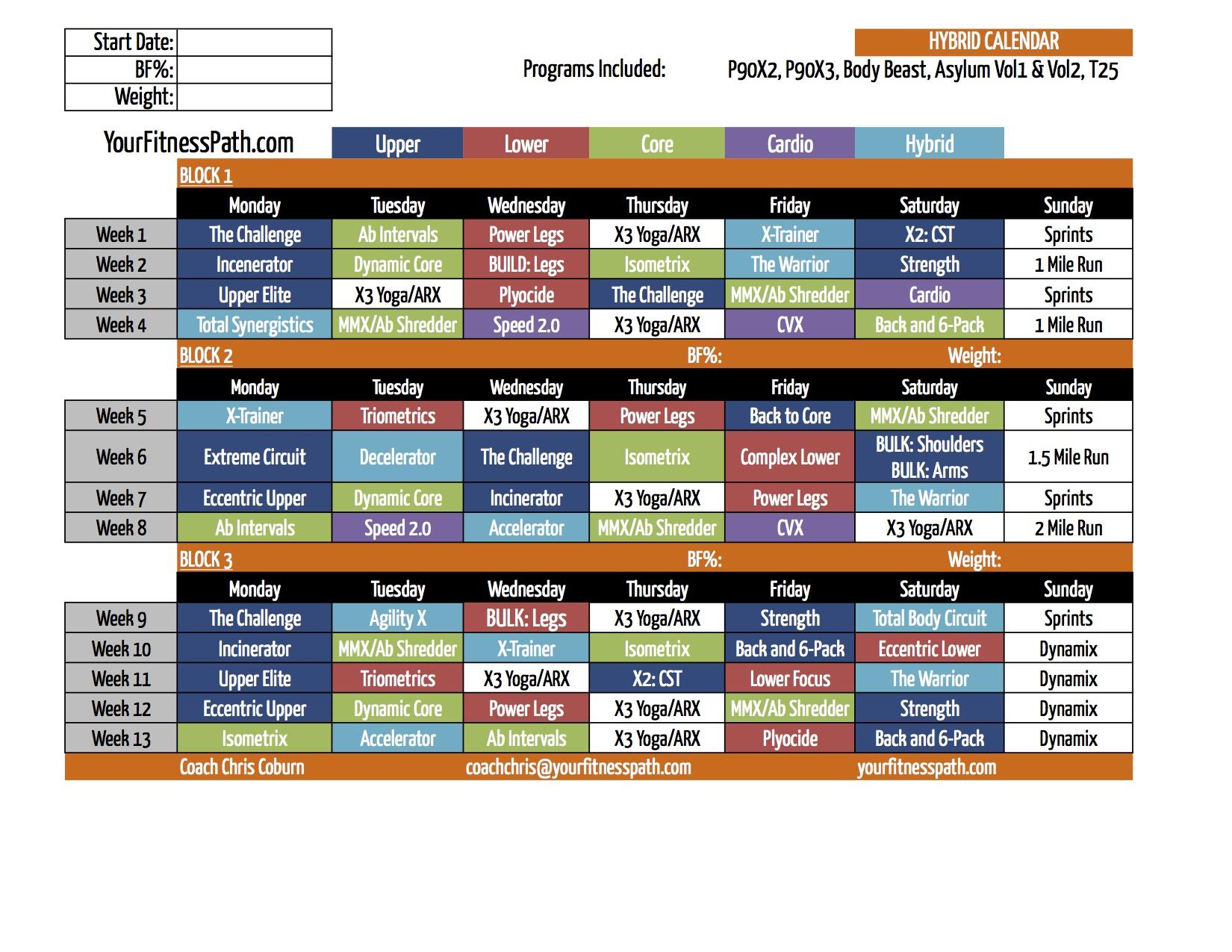 Beachbody Hybrid Workout Calendars