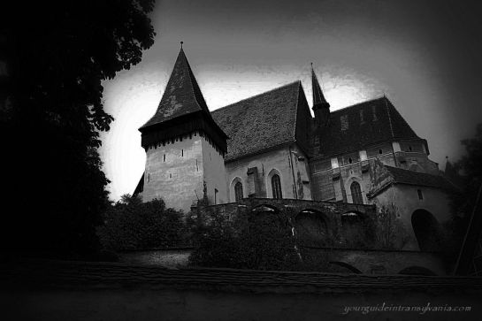 Biertan Fortified Church in black and white