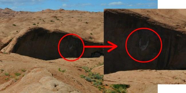 Coyote Gulch landmark, white bird, U, cairns
