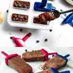 adding chocolate popsicle mixture to molds with a fork