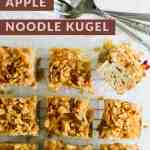 Cut squares of cinnamon apple noodle kugel with a few forks.