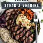 Glazed balsamic steak and veggie bowls with a silver fork.