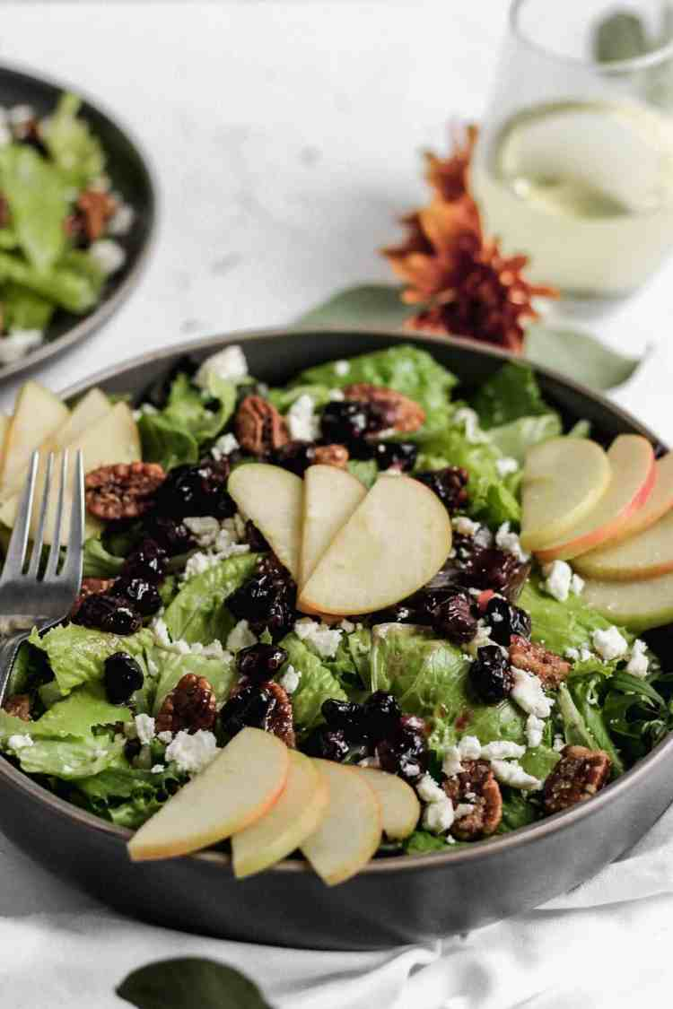 Apple cranberry salad in a black serving bowl with sliced apples on top and a glass of white wine to the side.