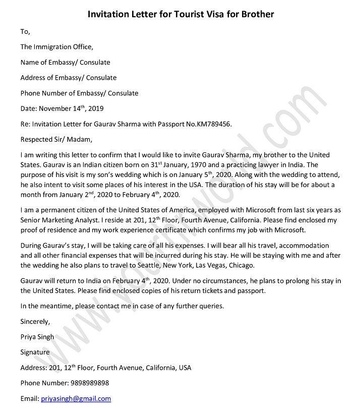 sample invitation letter for tourist