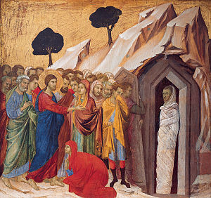 300px-'The_Raising_of_Lazarus',_tempera_and_gold_on_panel_by_Duccio_di_Buoninsegna,_1310–11,_Kimbell_Art_Museum