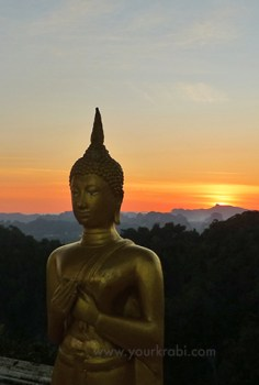 Sunset is a great time to visit Tiger Cave Temple