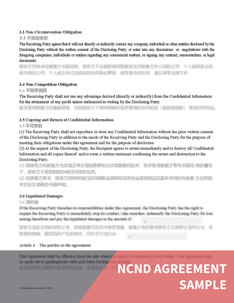 Ncnd Agreement Template Chinese English Translation Your