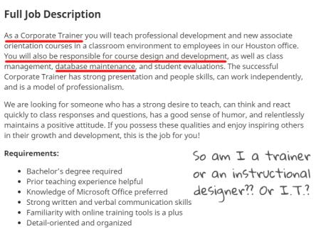 job description for an entry level corporate trainer