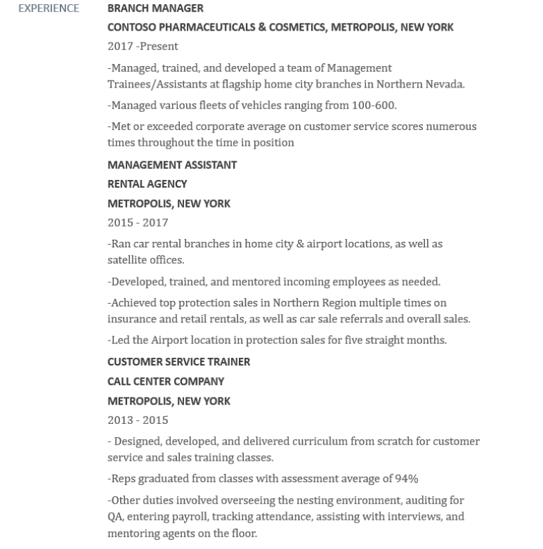 example resume of someone looking for a learning and development job
