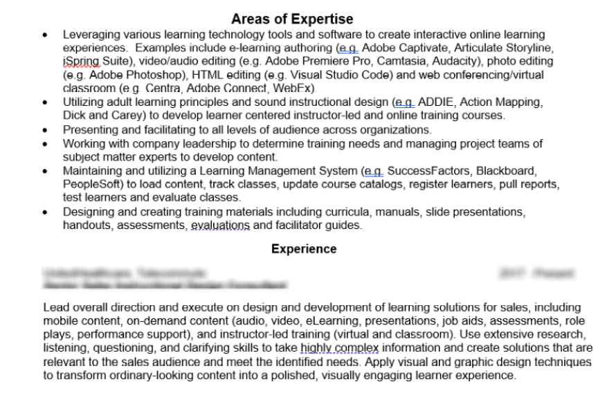 Example from my resume