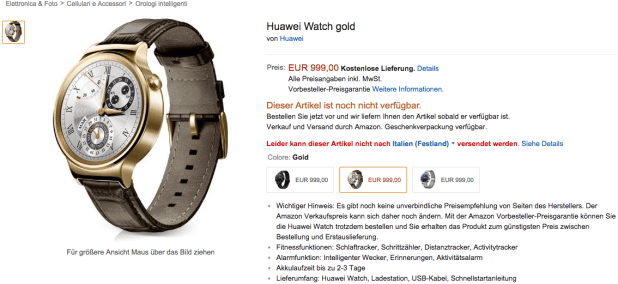 Prezzo Huawei Watch Amazon