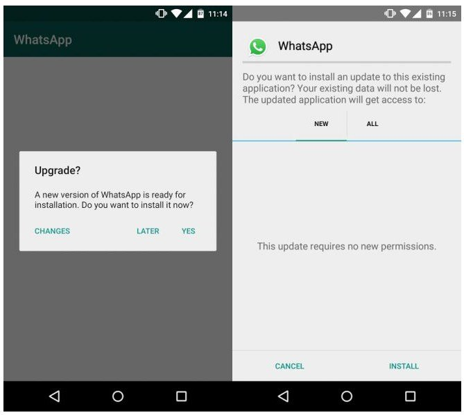 WhatsApp OTA Update
