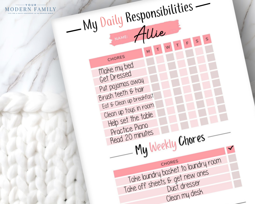 Daily Responsibility Charts for Kids