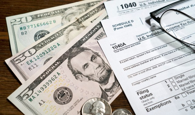 US dollars and income tax returns papers