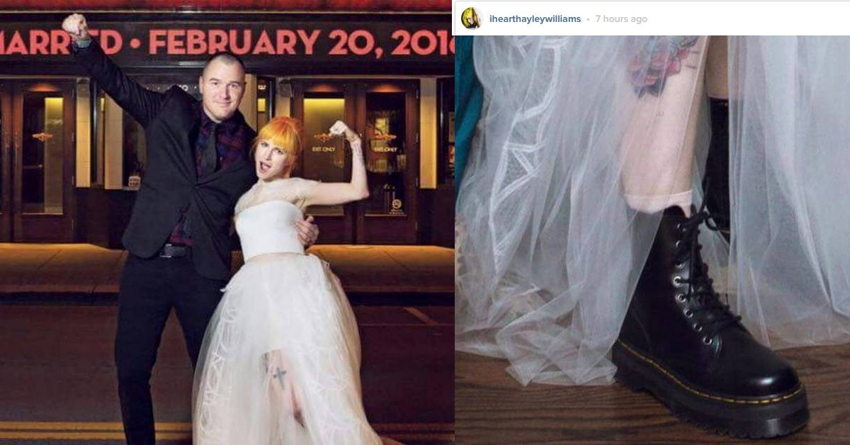 Hayley Williams Weds Chad Gilbert In Vera Wang And Doc Martens