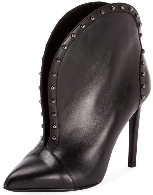 Balmain Iren vachetta leather bootie with stud trim