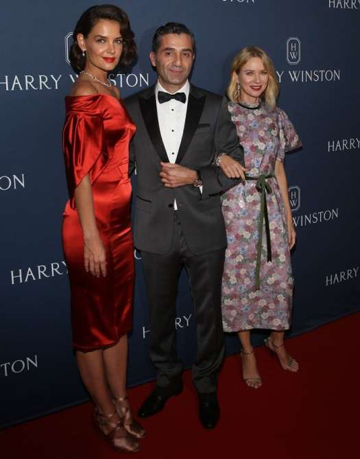"""Naomi Watts, Fadi Ghalayini and Katie Holmes attend the """"New York Collection"""" by Harry Winston at The Rainbow Room on September 20, 2018, in New York City"""