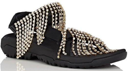 Area x Teva's sandals are assembled from black nylon webbed fabric detailed with chandelier-inspired crystal fringe