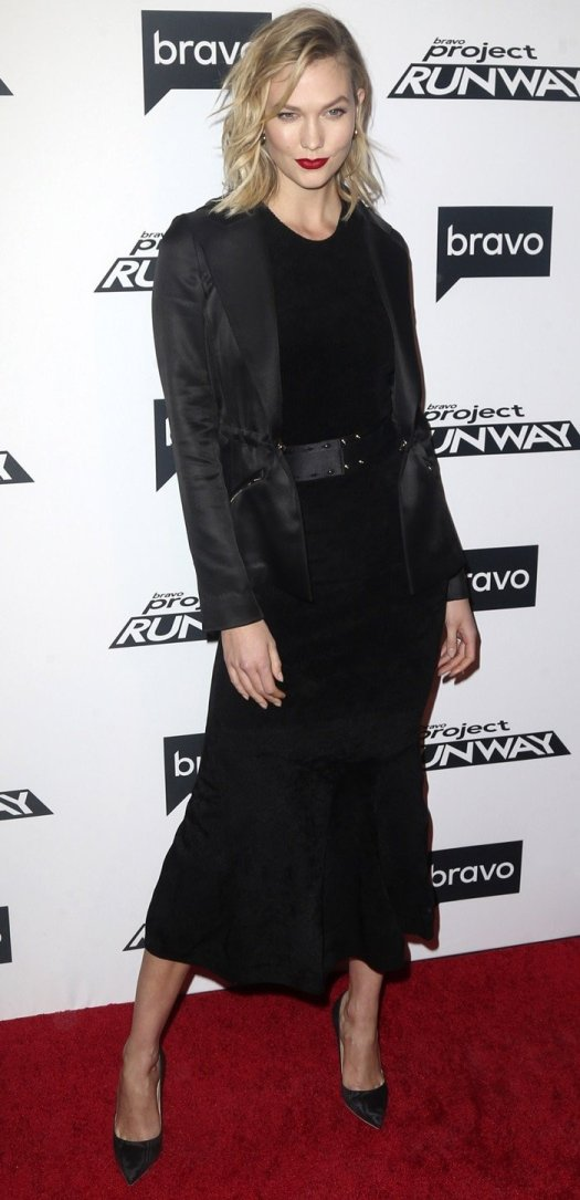 Karlie Kloss wore an all-black outfit on the red carpet at the premiere of Project Runway at Vandal in New York City on March 7, 2019