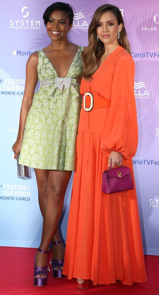 Gabrielle Union and Jessica Alba in hot platform heels by Miu Miu and Giuseppe Zanotti