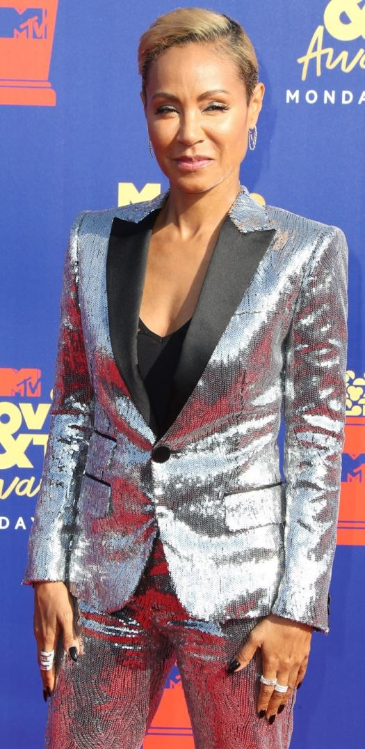 Jada Pinkett Smith's silver power suit by featuring black panels