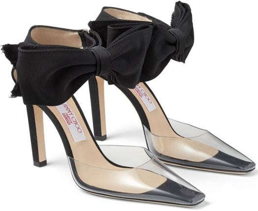Throwbacks to 90's idea of techno and utility, Glinda fuses PVC with grosgrain, detailed with outrageously feminine oversized bows
