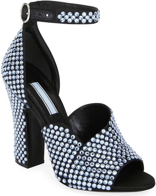 Blue Crystal Satin Ankle-Strap Sandals