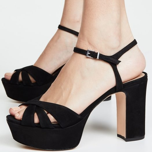 You step from retro to right now in the Keefa platform heel featuring premium leather upper with crisscross vamp straps
