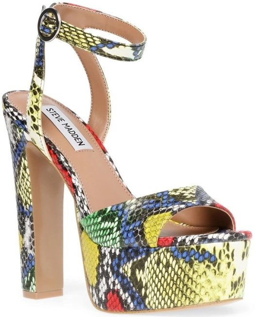 A lofty platform amplifies the retro appeal of this standout multi snake ankle-strap sandal