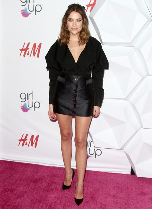 Ashley Benson gives a leggy display in Paris Georgia blouse and mini skirt